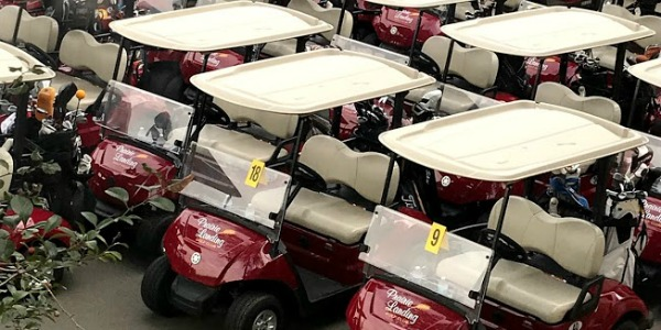golf carts in a row