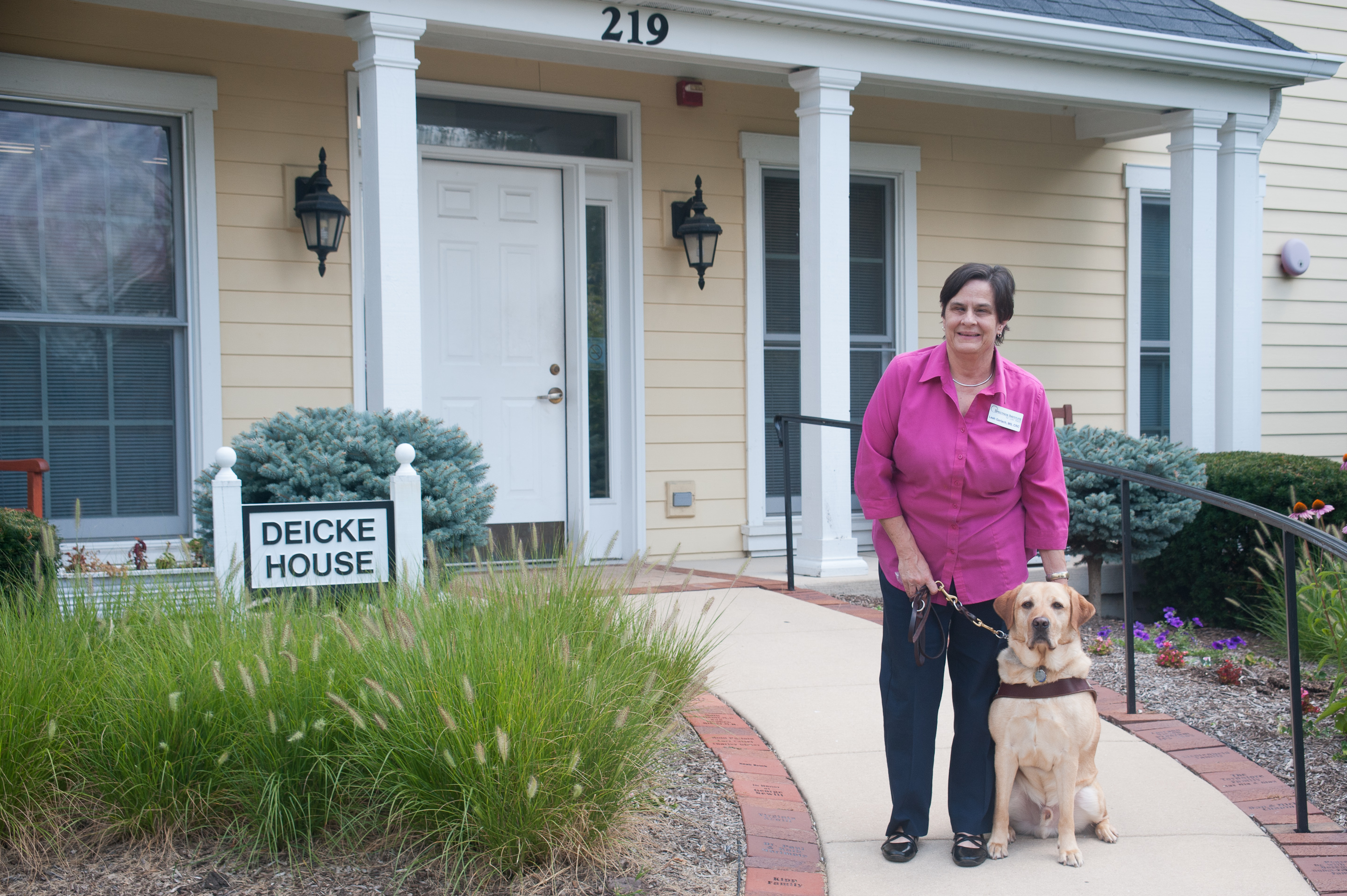 Leah Gerlach and her guide dog Boulder