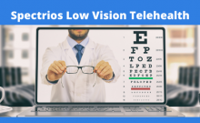 Eye doctor showing glasses on a computer with the text Spectrios Low Vision Telehealth