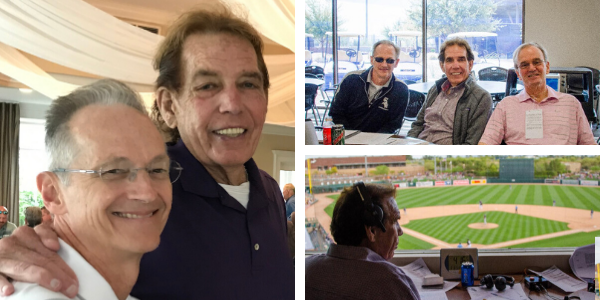 Pictures of Dr. Williams, Ed Farmer and Peter Whinfrey. Also a picture of Ed Framer in the booth at a White Sox game.
